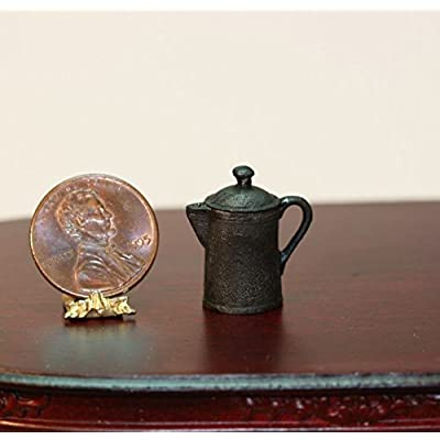Island Crafts & Miniatures Dollhouse Miniature Vintage Look Black Cast Iron Coffee Pot: Toys & Games