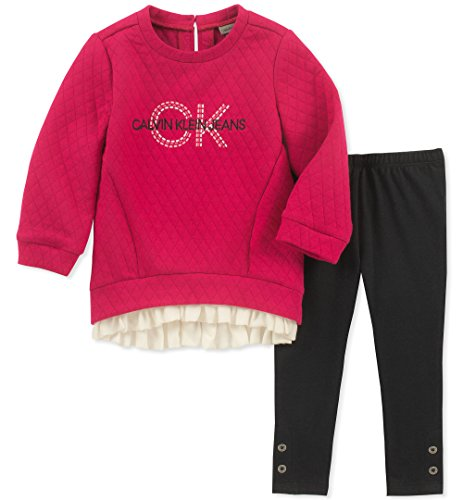 - Calvin Klein Girls' Toddler 2 Pieces Tunic Set, Berry/Obsidian, 2T