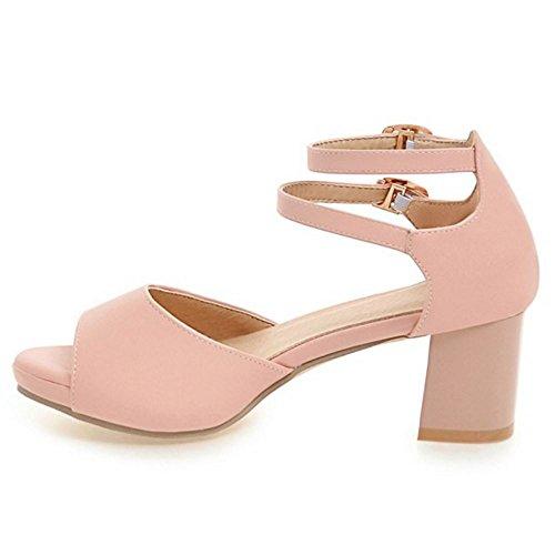 Toe TAOFFEN Sandals Wedding Shoes Peep Ladies Pink Bride Heel Block Dress 4CqrX4w