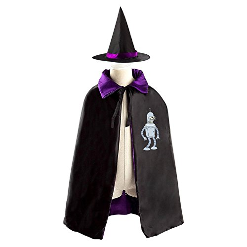Bender Design Costume (Bender Futurama Halloween Wizard Witch Kids Cape With Hat Party)