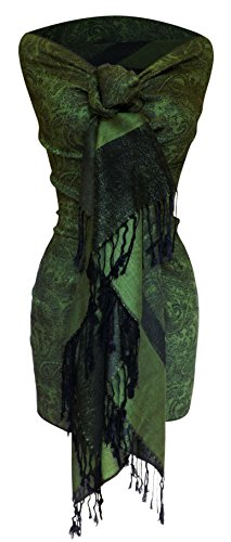 Peach Couture Womens Elegant Vintage Two Color Jacquard Paisley Shawl Wrap Pashmina Scarf Dark Green and Black