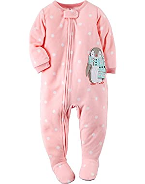 Little Girls' One Piece Fleece Pajamas (Pink, Penguin)