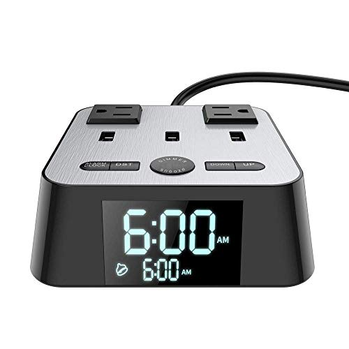 Yostyle Alarm Clock Charger w/3 USB Ports and 2 AC Outlets, 6ft Power Cord Charging Station Power Strip for Hotel Home,UL Tested (4 Dimmer Brightness,Snooze,ON/Off Switch,DST Time,Battery Backup)
