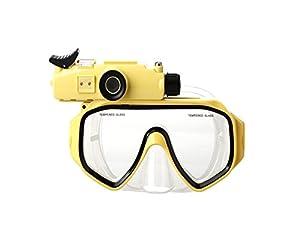 KINLIFE QSJ-033 Professional Snorkeling Scuba Mask Glasses 720P Digital Diving Camera Mask-30M Underwater Swim Camera (Yellow)