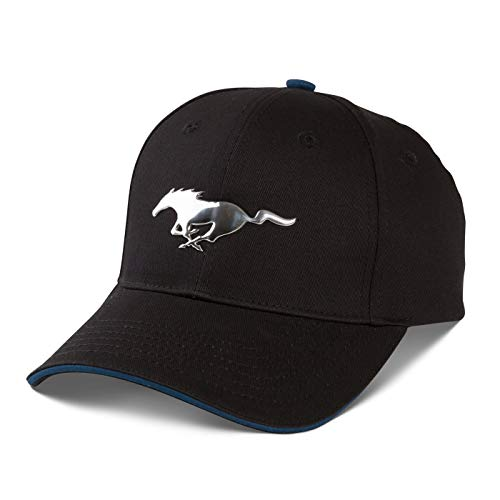 Ford Mustang Chrome Looking Embossed Pony Black Baseball Cap