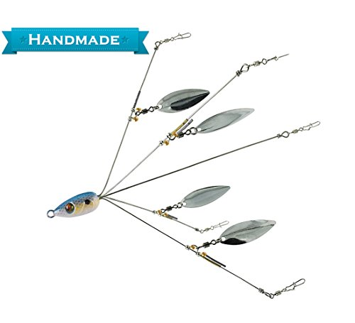 5 Arms Alabama Umbrella Rig Fishing Ultralight Tripod Bass Lures Bait Kit,Junior Ultralight Willow Blade Multi-Lure Rig
