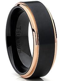 Metal Masters Co.® Rose Tone / Black Titanium Ring Wedding Band, Engagement Ring, High Polish Beveled Edge Ring