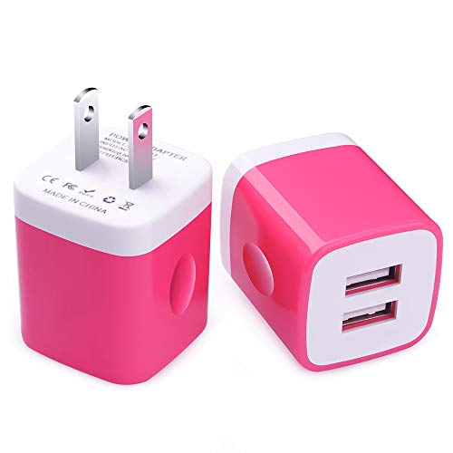 Charger Box, FiveBox 2PC Dual Port 2.1A USB Wall Charger Brick Plug Adapter Phone Charging Base Cube Charger Block Compatible iPhone XS Max/XR/X/8/7/6/6s, iPad, Samsung Galaxy S9 S8 S7 S6, LG, Android