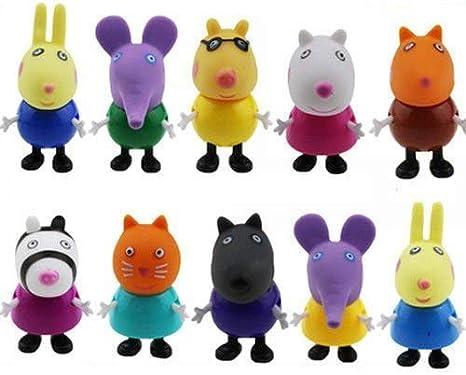 Un Juego de 10 Peppa Pig Muñecos y Figuras de Acción Regalos de Juguete Para Niños