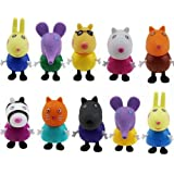 10 x Set Peppa Pig Friends Acción Figuras Niños Juguetes Regalo Emily Rebecca