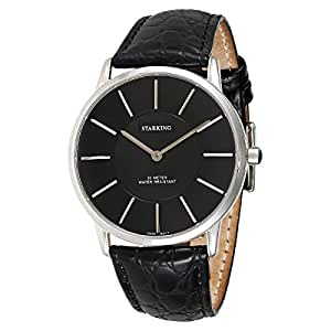 Starking Men's Black Dial Leather Band Watch - BM0841SL22