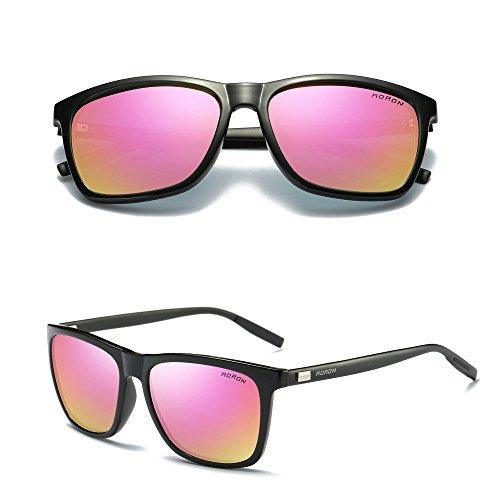 Aluminium Men's Polarized Driving Mirrored Sunglasses Black/Pink - Hong Sunglasses Brand Kong