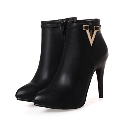 KingRover Women's V Cut Sexy Pointed Toe Strap Side Zipper Ankle Booties Black JzVZq