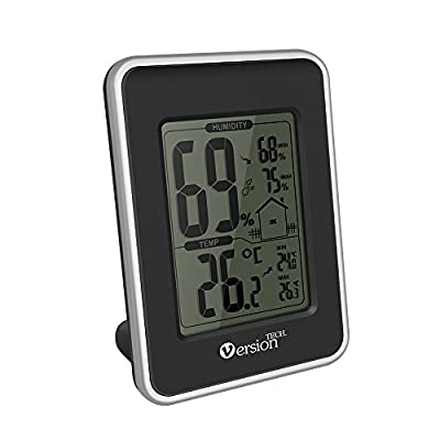 Hygrometer Thermometer,VersionTech Indoor Temperature and Humidity Monitor Thermometer Digital with Thermometer Celsius and Fahrenheit LCD Display for Indoor Office Wine Cellar Library