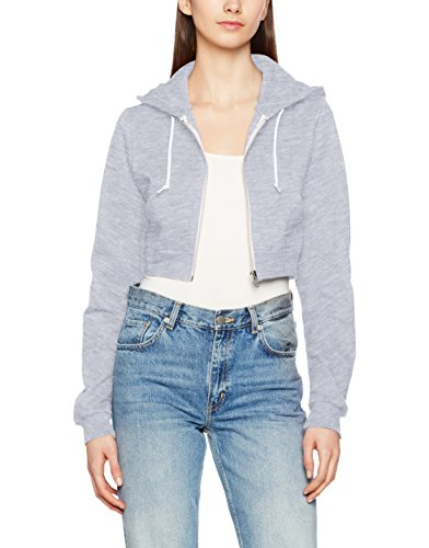 AWDis Girlie Cropped Hoodie, Capucha para Mujer Gris (Heather Grey)
