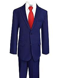 Black N Bianco Boy's Solid Suit w/ Shirt Vest Tie and Pants