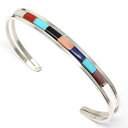 L7 Enterprises Single Row Zuni Inlay Bracelet by The Wallaces (Multi-Color)