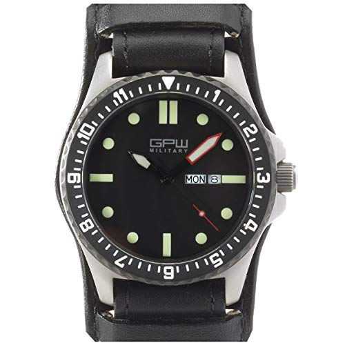 German Military Titanium Watch. GPW Day Date. Sapphire Crystal. Black German Bund Leatherstrap 200M W/R