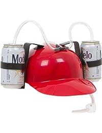 EZ Drinker Beer and Soda Guzzler Helmet, Red Drinking Hat