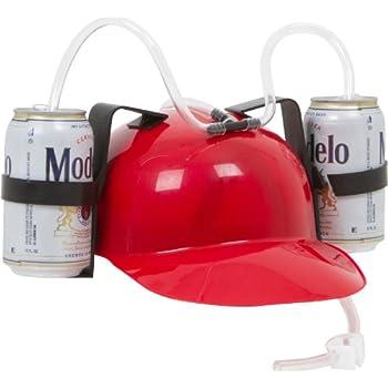 EZ DRINKER Beer & Soda Guzzler Helmet - Drinking Hat By (Red)