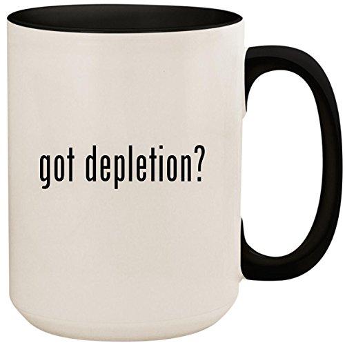 got depletion? - 15oz Ceramic Colored Inside and Handle Coffee Mug Cup, Black