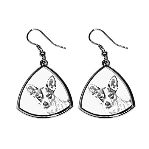 Rat Terrier, collection of earrings with images of purebred dogs, unique gift