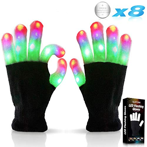 Halloween Ideen 2019 (Kids Led Flashing Finger Lights Gloves 3 Colors 6 Modes for 3 4 5 6 7 8 9 10 11 12 13 Years Old Boys Girls Autistic Children top Toy)