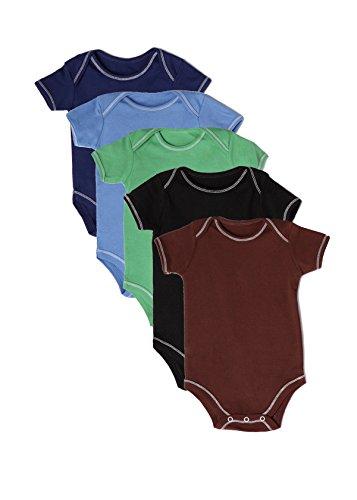Best of Chums Baby Infant Short Sleeve Lap Shoulder Tee Bodysuit Multicolor Pack of 5 Boys 100% Cotton