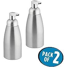 mDesign Rustproof Aluminum Foaming Soap Dispenser Pump, for Kitchen or Bathroom - Pack of 2, Brushed/Silver
