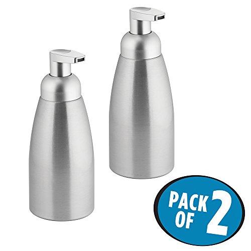 mDesign Modern Aluminum Foaming Soap Dispenser Pump Bottle for Kitchen Sink Countertops, Bathroom Vanities, Utility/Laundry Rooms - 2 Pack, Brushed Aluminum/Silver Top ()