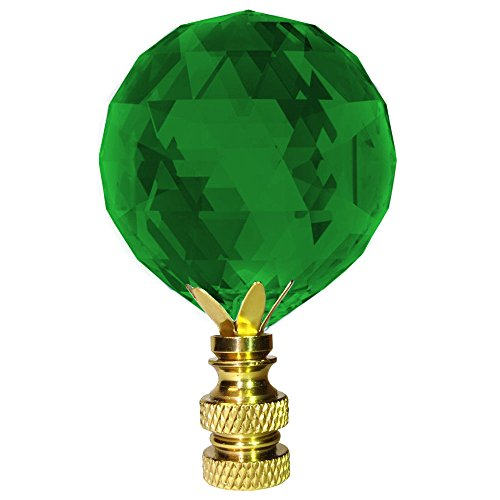 Crystal Finial Swarovski Strass Emerald Green 30mm Faceted Ball Prism Dazzling Lamp Shade Finial