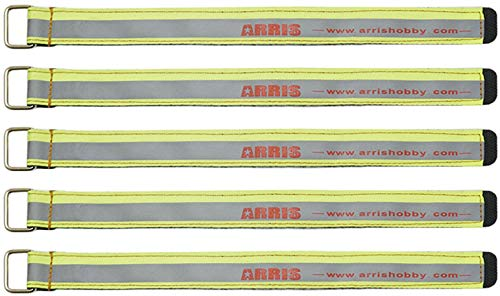 ARRIS RC Lipo Battery Straps 5PCS High Strength 250X20MM 90kg+ Tensile Strength Non-Slip Battery Strap for 4S 6S FPV Racing Quadcopter Drones (Fluorescent Green) (Battery Straps Lipo)