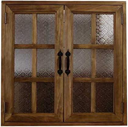 カフェ窓 室内窓 採光窓 フローラガラス扉 アンティークブラウン 木製 ひのき 60×15×60cm・厚み3cm 両面仕様 桟入り アイアン取っ手つき 北欧 受注製作