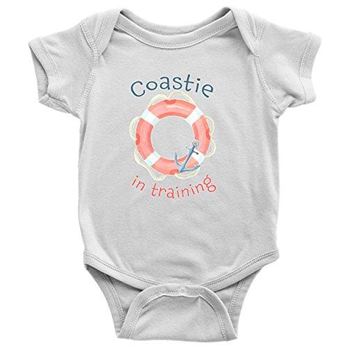 White Sailor Dog Shirt (Coast Guard Baby Clothes - US Coastie Onesie for Newborns Infants & Toddlers (White, 24M))