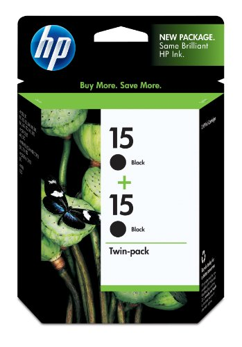 HP 15 C6653FN#140 Ink Cartridge, Twin Pack-Black (Hp No 15 Twin)