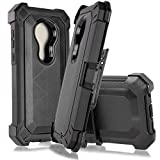G7 Play Case, Motorola Moto G7 Play/G Play 7th Gen/ XT1952 Customerfirst Holster Heavy Duty Hard Cover Armor Combo Crystal Case with Belt Clip, Kickstand & Built in Screen Protector (Black)