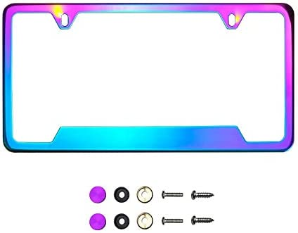 KA Depot Bottom Corner Cut Out Version Neon Neo Chrome Mirror License Plate Frame T304 Stainless Steel + Metal Screw Caps
