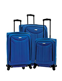 Samboro 3-Piece 360º Spinner Wheel Collection Luggage Set, Samboro Softside Suitcase Set (Blue)