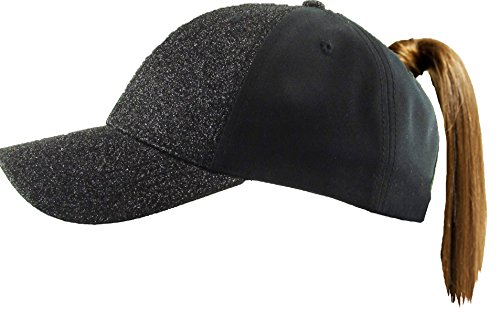 Funky Junque H-216-GS06 Pony Cap - Glitter - Solid Black