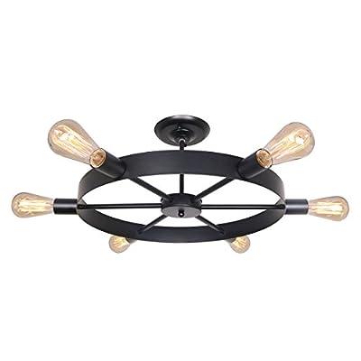 Unitary Brand Antique Black Metal Wheel Semi Flush Mount Ceiling Light with 6 E26 Bulb Sockets 240W Painted Finish