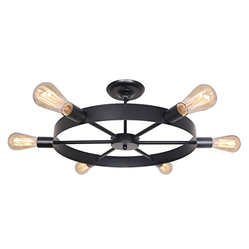 (Unitary Brand Antique Black Metal Wheel Semi Flush Mount Ceiling Light with 6 E26 Bulb Sockets 240W Painted Finish)