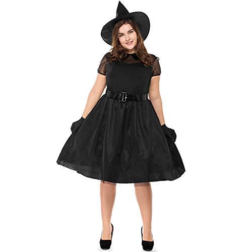 EsTong Women Plus Size Halloween Dress Cosplay Costume Witch Black Magic Mistress Black ()
