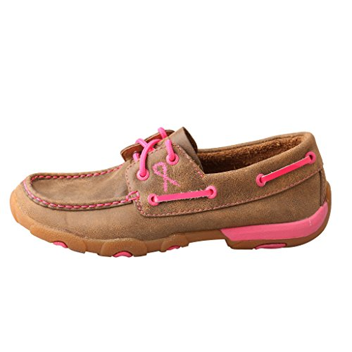 Pink Women's Bomber Pink Bomber Sole Rubber up Moccasins X Leather Twisted Driving Lace fq7A7w