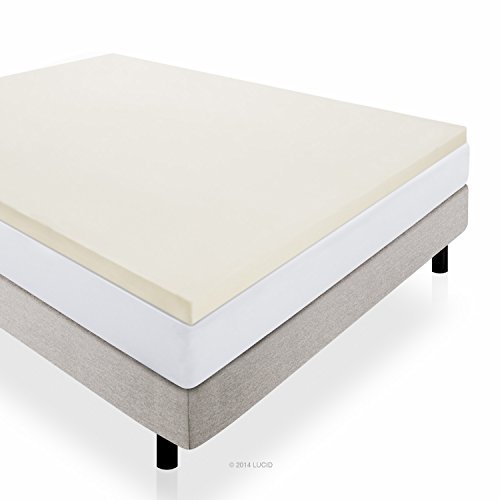 LUCID 2 Inch Foam Mattress Topper Twin size 3-Year Warranty (Twin Foam Mattress Pad 2 Inch)