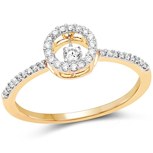 14K Yellow Gold 0.21 Carat Genuine White Diamond Ring (G-H Color, SI1-SI2 (0.21 Ct Color)