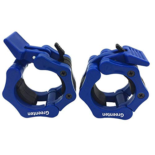 Greententljs Olympic Barbell Weight Clamps 2 Inch Clips Quick Release Locking 2 Pro Olympic Bars Deadlifts Weights Plates for Squats Weightlifting Fitness Body-Solid (Blue, 1 Pair Set)