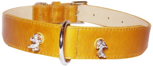 Poodle Rivets Tapered Dog Collar, Large Size 14-17, Cumin