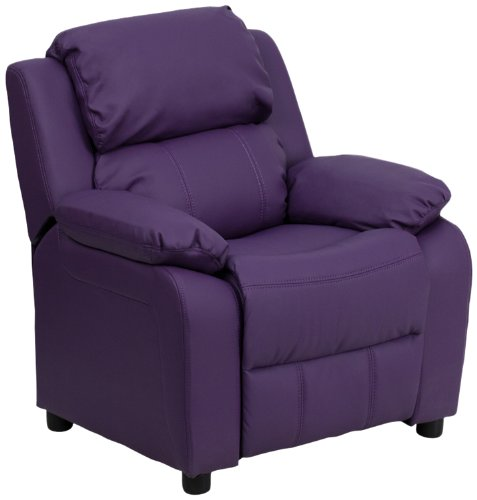 Flash Furniture Deluxe Padded Contemporary Purple Vinyl Kids Recliner with Storage Arms -