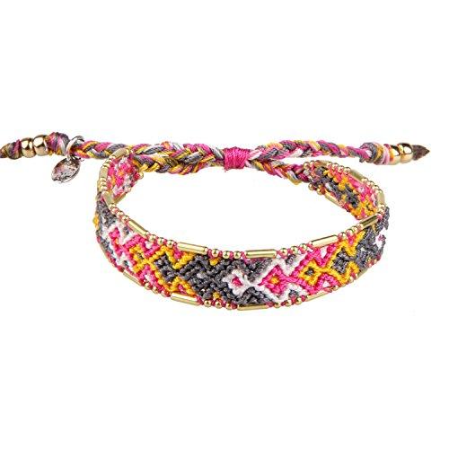 Gray/Pink/Yellow Boho Handmade Woven Braided Friendship Bracelet Wristband