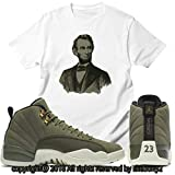 Custom T Shirt Matching Air Jordan 12 CP3 Olive Canvas Class 2003 JD 12-6-7-WHITE-XL